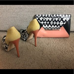 Multi colored heels with matching purse